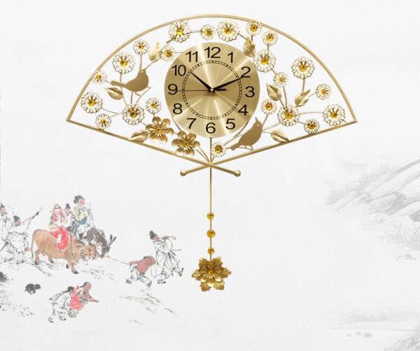 Đồng hồ trang trí chiếc quạt mai vàng KS1963V